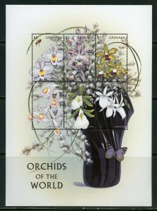 GRENADA ORCHIDS OF THE WORLD SHEET  MINT NH