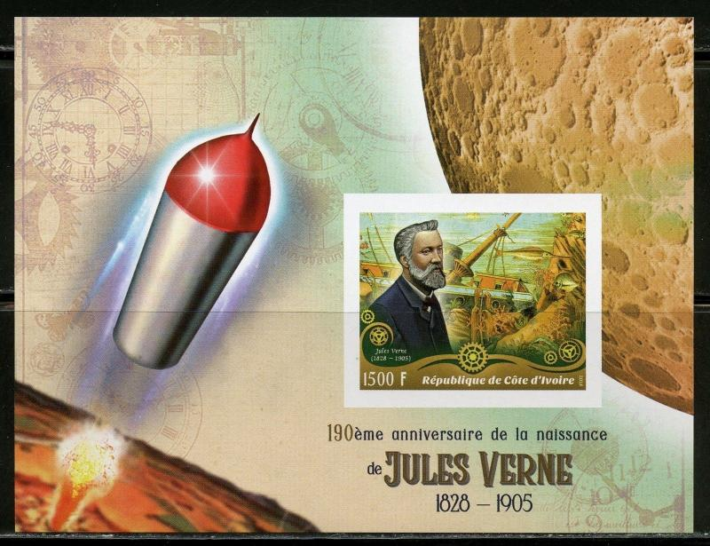 IVORY COAST 2018 190th  BIRTH ANN OF JULES VERNE SET IMPERF  DELUXE S/S MINT  NH
