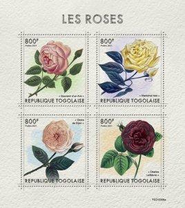 TOGO - 2021 - Roses - Perf 4v Sheet - Mint Never Hinged