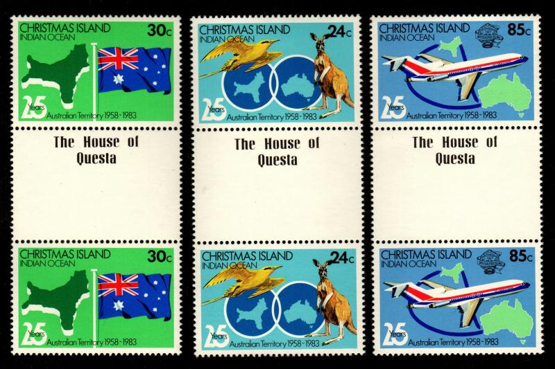 Christmas Island - Mint Gutter Pairs, Scott #142-4 (Maps, Flag, Plane)