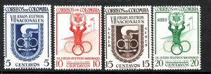 J26945 1954 colombia mh set #623-4,c256-7 sports