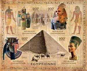 CENTRAFRICAINE 2012 SHEET EGYPTIAN CIVILIZATION PYRAMIDS