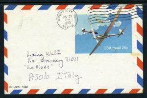 UX20  POSTALLY USED - To Italy via Airmail   1983 (SCARCE!!) cv$35.00