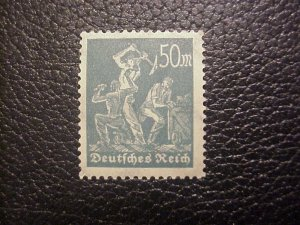 RARE 1922 50 MARK BLUEISH/GREEN MINE WORKER GERMAN STAMP MINT/NH Mi278