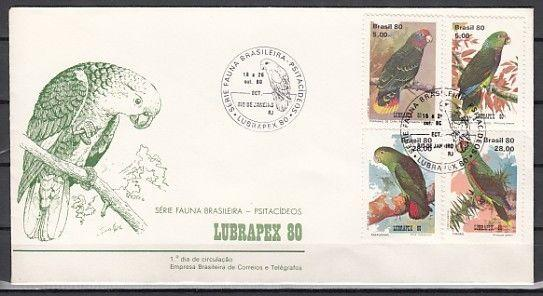 Brazil, Scott cat. 1715-1718. Lubrapex `80 with Parrots shown. First day cover.