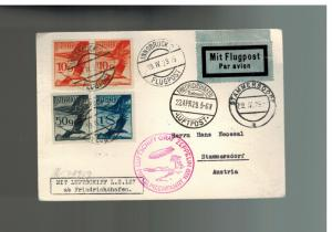 1929 Vienna Austria Graf Zeppelin postcard cover Mediterranean Flight