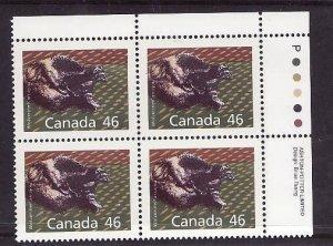 Canada-Sc#1172Ag-Unused NH 46c Wolverine-id2-plate block UR-perf 14.4 x 13.8-199