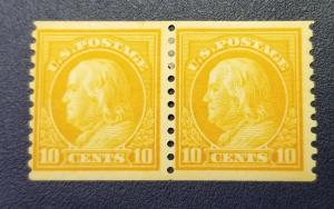 SC #457 Mint OG Yellow Orange 10 cent Franklin Coil Pair