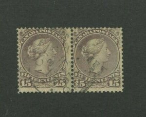 1868 Canada Postage Stamp #29 Used Pair Postal Canceled