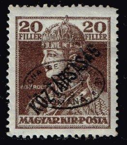 HUNGARY STAMP Debrecen 1919 Overprinted  Köztársaság  20F  MH/OG