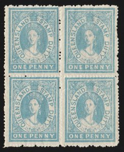 QUEENSLAND : 1866 QV Large Chalon Stamp Duty 1d Postal Fiscal block. MNH **.