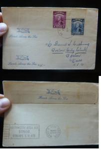 Sarawak 4c + 8c Brooke on 1938 cover to USA, Savings Bond Slogan Cancel (13bey)