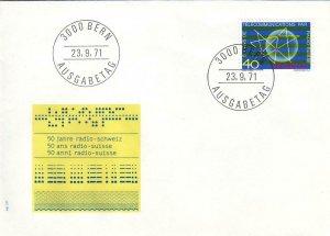 1971, Switzerland: Telecommunication Symbol, Unaddressed, FDC (D8264)