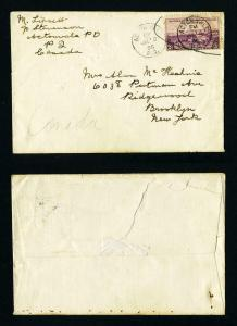Cover from Acton Valle, Quebec, Canada W/US Postage to Brooklyn, NY - 7-10-1935