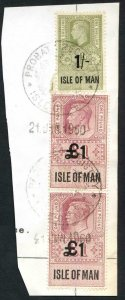 Isle of Man KGVI One Pound Pair + 1/- Key Plate Type Revenues CDS on Piece