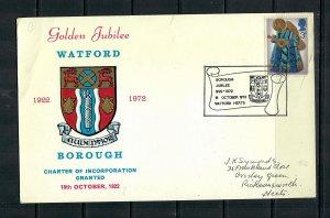 G.B  COMMEMORATIVE CARD 1972 WATFORD GOLDEN JUBILEE