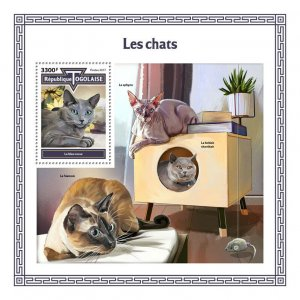 Togo Cats Stamps 2017 MNH Russian Blue Sphynx British Shorthair Hair 1v S/S