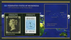 Micronesia 2010 MNH Penny Black 170th Anniversary 2v S/S Stamps on Stamps