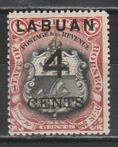 LABUAN 1899 LARGE 4C OVERPRINTED 6C ARMS PERF 14.5-15
