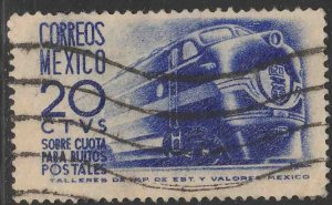 MEXICO Q8, 20¢ 1950 Definitive 1ST Printing wmk 279 USED. VF. (1056)