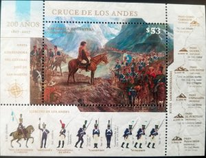 V) 2017 ARGENTINA, 200 YEARS OF THE CROSSING OF THE ANDES, SAN MARTIN, MNH