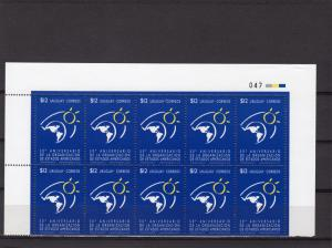 Uruguay 1998 Sc#1719 OAS  50th.Anniversary Set (1) Block of 10 MNH
