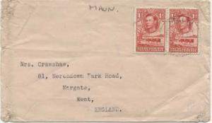 Bechuanaland 1d KGVI Cattle and Baobab Tree (2) 1944 Maun to Margate, England...