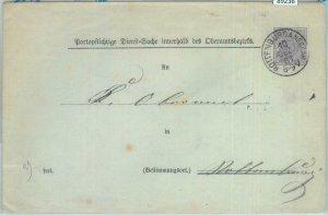 89236 - GERMANY Württemberg - Postal History - POSTAL STATIONERY COVER:  #DU10