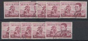 APD321) Australia 1973 $1 Flinders perf.14¾ x 14 x 10 VFU SG401c, Cat. £22 each