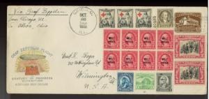 1933 Graf Zeppelin Century of Progress Chicago Cover Akron cancels