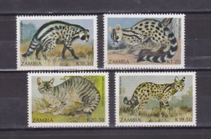 ZAMBIA - 1991 FAUNA SMALL CARNIVORES / WILD ANIMALS - 4V MNH