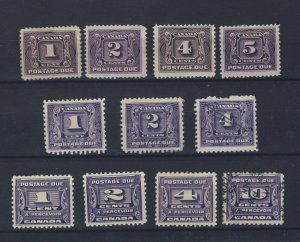 11x Canada Postage Due Stamps J1 to J4 J6-7-8 J11-12-13 Guide Value = $187.00