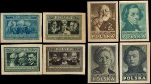 Poland #403A-403H Imperf MNH - Famous People, Chopin, Curie et al (1947)