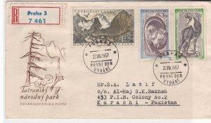 czechoslovakia 1957 tatransky narodny park  air mail stamps cover ref 20858