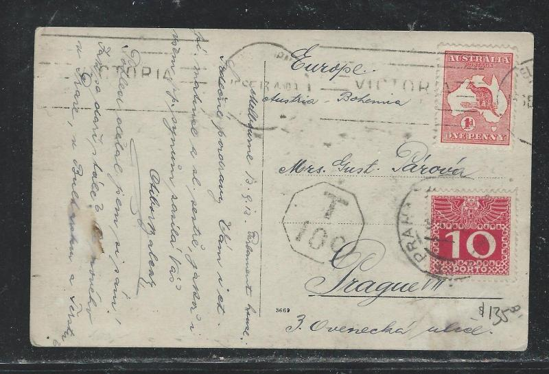 AUSTRALIA (P2706B) 1913 1D ROO ON PPC TO AUSTRIA SHORT PAID AUS POST DUE 10C