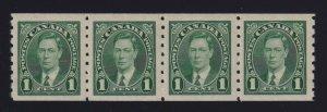 Canada Sc #238 (1937) 1c green King George VI Mufti Coil Strip Mint VF NH