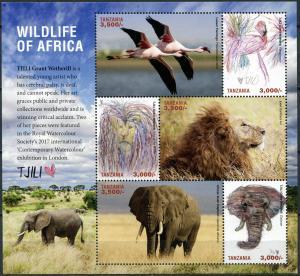 Tanzania 2017. Wildlife of Africa (II) (MNH OG) Miniature Sheet