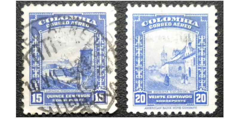 COLOMBIA AIRMAIL STAMP 1952. SCOTT # C219 - C220. USED.