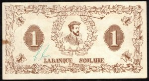 CANADA, QUEBEC 1929 VINTAGE $1. SCHOOL BANK PAPER MONE, CINDERELLA