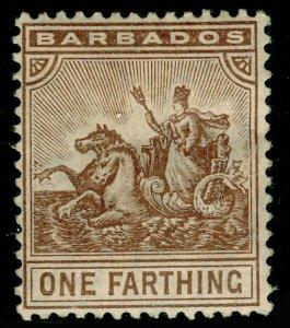 BARBADOS SG163, ¼d brown, M MINT. Cat £11.