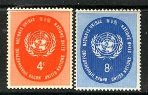 United Nations N.Y.; 1958: Sc. # 63-64: **/MNH Cpl. Set