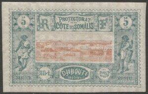 SOMALI COAST Djibouti 1894 Sc 9  MLH 5c  VF View of Djibouti, cv $14