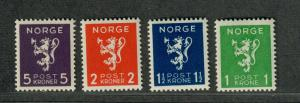Norway Sc#203-206 M/NH/VF, Complete Set, Cv. $40