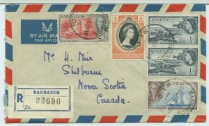 BARBADOS Air Mail Reg 38c cover  to Shelburne NS Canada