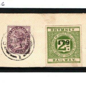 GB WALES 2d *Rhymney Railway* Letter Stamp 1898 1d Lilac Cardiff Piece 1285