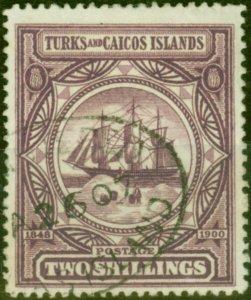 Turks & Caicos Islands 1900 2s Purple SG108 Fine Used