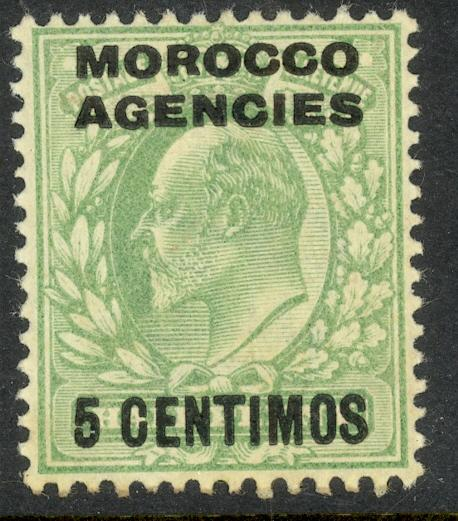 GREAT BRITAIN OFFICES IN MOROCCO KEDVII 1907-10 Sp Currency 5c on 1/2d Sc 34 MH