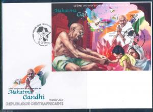 CENTRAL AFRICA  2013 65th MEMORIAL ANNIVERSARY MAHATMA GANDHI  S/SHEET FDC