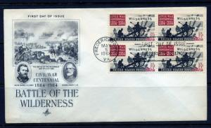 UNITED STATES 1964 BATTLE OF THE WILDERNESS BLOCK ON ARTCRAFT FIRST DAY COVER