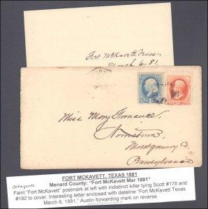 Menard County McKavett with Letter ( Postal History ), 1881